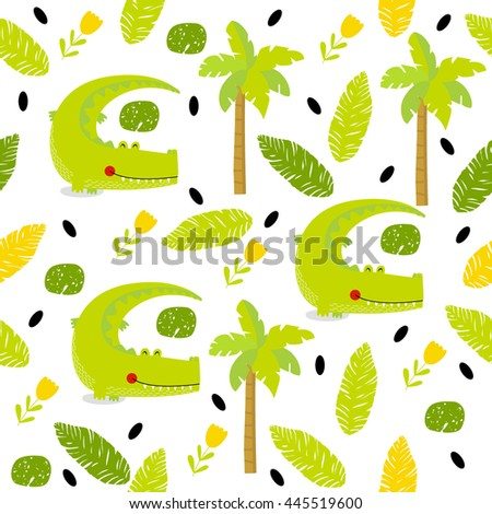 Vector seamless background with green cartoon crocodile, flowers, palm trees, foliage. Bright multicolored pattern. Safari, Africa, the Indian jungle. - stock vector