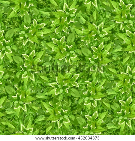 Vector seamless background with green leaves.