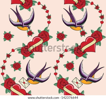 vector seamless background with hearts and swallows - stock vector