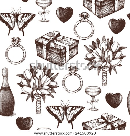 Vector seamless background with  ink hand drawn valentine's day illustration. Vintage valentine's day pattern. - stock vector