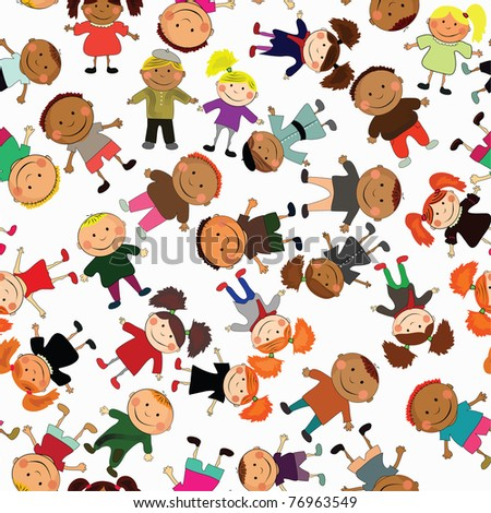 vector seamless background with kids. - stock vector