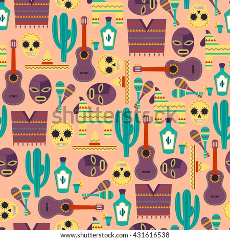 Vector Seamless Background with Mexican Elements