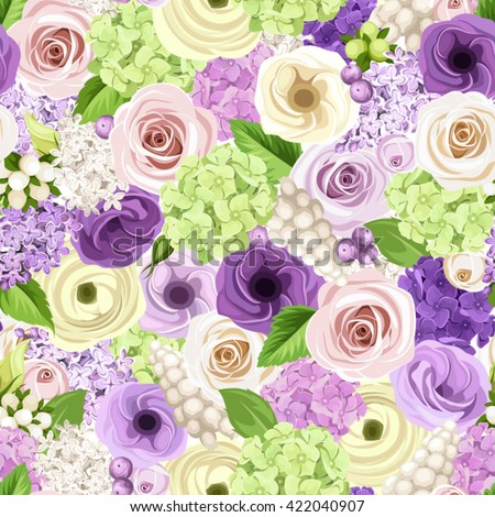 Vector seamless background with pink, purple, white and green roses, lisianthuses, ranunculus, lilac and hydrangea flowers.