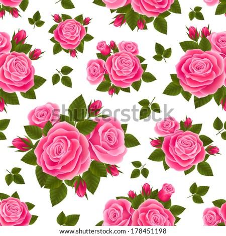 Vector seamless background with pink roses isolated - stock vector