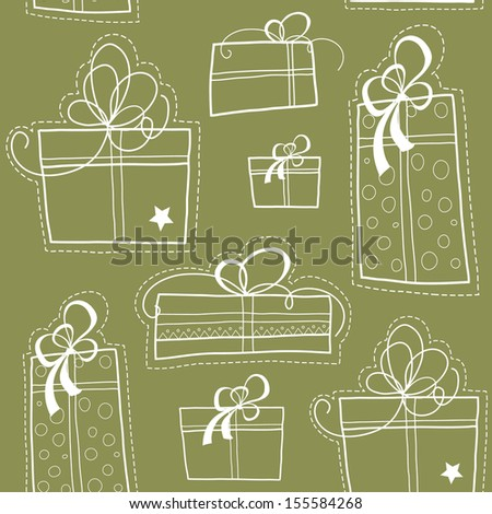 Vector seamless background with presents