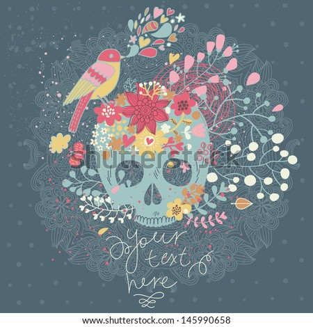 Vector seamless background with skull in flowers and bird singing. Spring floral concept card in mexican tradition with place for text  - stock vector