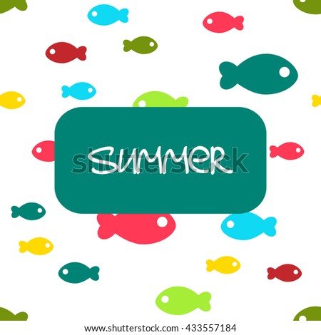 Vector seamless background with small cute fishes - stock vector