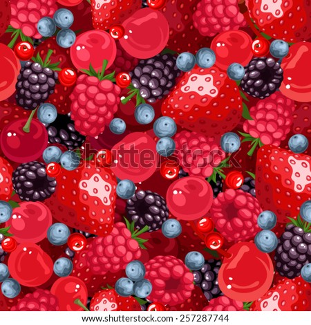 Vector seamless background with strawberries, raspberries, blackberries, cherries, blueberries and current. - stock vector