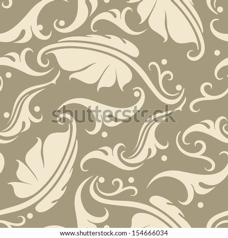 Vector seamless background with vintage floral elements. - stock vector