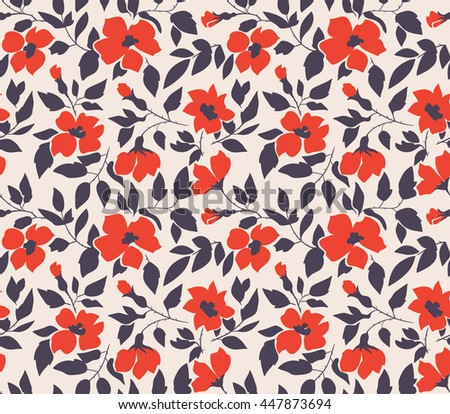 Vector seamless background with  wild roses, vintage style. Hand drawn fabric design.