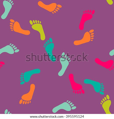 Vector seamless bare footprint multi colored pattern. Collection of randomize bare foots in acid colors. Design for textile, fabric, invitation and greeting cards, booklets and brochures, website - stock vector