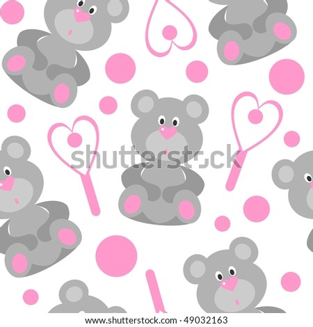 Vector. Seamless bear ornament in color 208. More seamless see in portfolio  - stock vector
