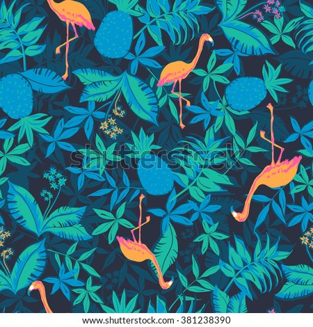 vector seamless beautiful artistic graphical tropical pattern, colorful summer rain forest nature, philodendron, split leaf, banana leaf, fern frond, flamingo bird, pineapple fruit, stylish tropics - stock vector
