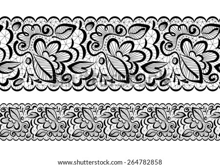 Vector seamless beautiful. Lace flowers and leaves on a white background - stock vector