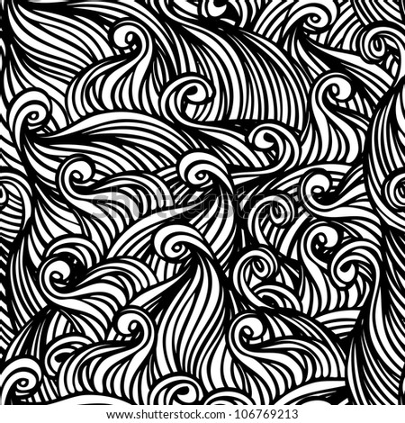 Vector seamless black and white abstract hand-drawn pattern with waves and clouds
