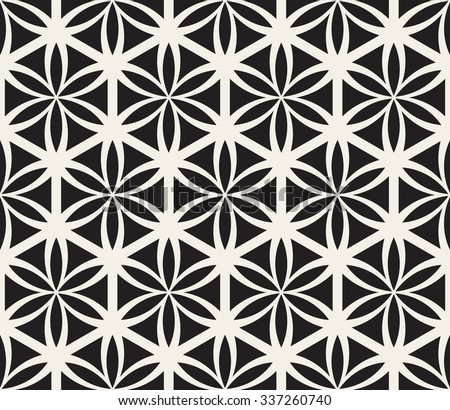 Vector Seamless Black and White Flower of Life Sacred Geometry Circle Pattern Abstract Background - stock vector