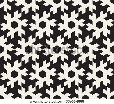 Vector Seamless Black and White Geometric Abstract Snowflake Shape Pattern Background