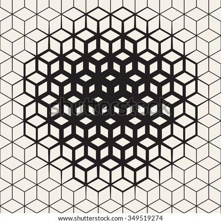 Vector Seamless Black And White  Geometric Cube Shape Lines Halftone Grid Pattern Fading Towards the Center. Abstract Background - stock vector