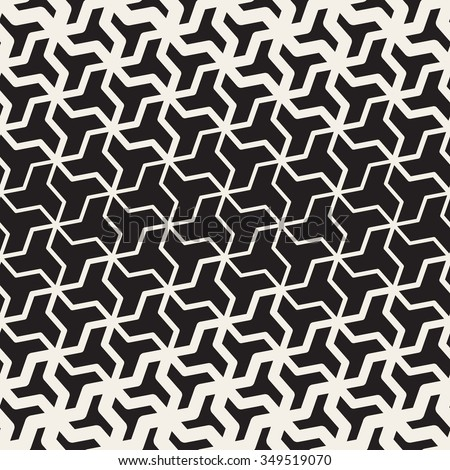 Vector Seamless Black And White  Geometric Triangle Shape Tessellation Halftone Line Grid Pattern Abstract Background - stock vector