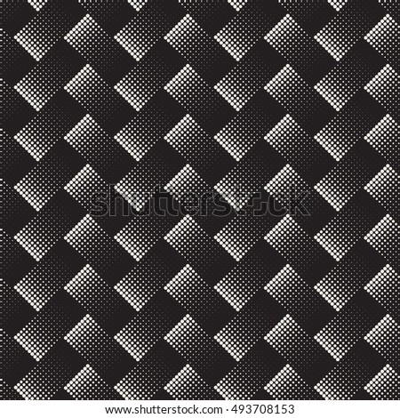 Vector Seamless Black And White Halftone Rectangles Pattern. Abstract Geometric Background Design