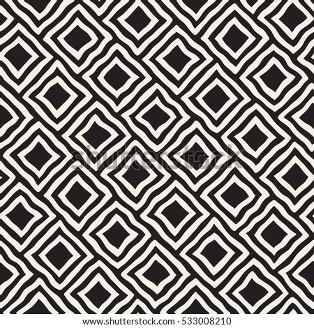 Vector Seamless Black and White Hand Drawn Rhombus Lines Pattern. Abstract Geometric Background Design.