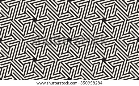 Vector Seamless Black And White Hexagonal Geometric Star Maze Islamic Line Pattern Abstract Background