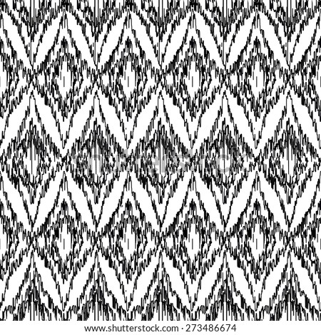 Vector seamless black and white ikat ethnic pattern - stock vector