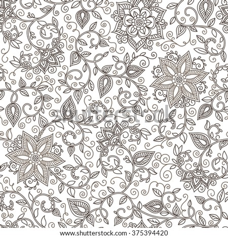vector seamless black and white pattern of spirals, swirls, doodles