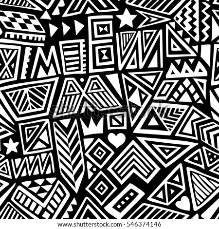 Vector Seamless Black And White Pattern With Abstract Lines Geometric Art Print Fashion 80s