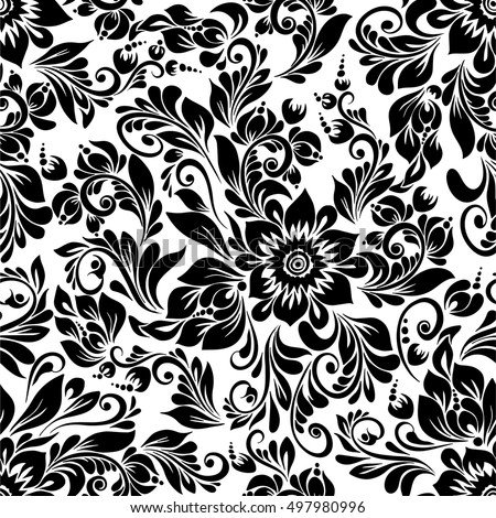 Vector seamless black white pattern abstract stock vector royalty vector seamless black and white pattern with abstract stylized flowers in folk style hohloma mightylinksfo
