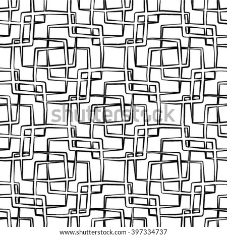 Vector seamless black and white pattern with linear geometric shapes. Abstract ethnic background with squares.