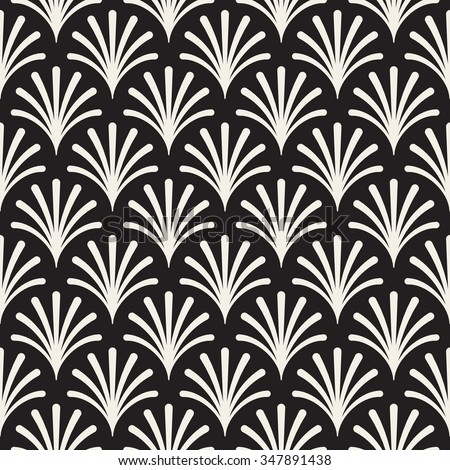 Vector Seamless Black and White Rounded Burst Lines Floral Shape Pattern Abstract Background