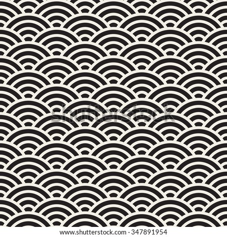 Vector Seamless Black and White Rounded Concentric  Arcs Wi-Fi Sign Pattern Abstract Background