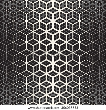 Vector Seamless Black And White Star Cube Geometric Grid Halftone Line Pattern Abstract Background