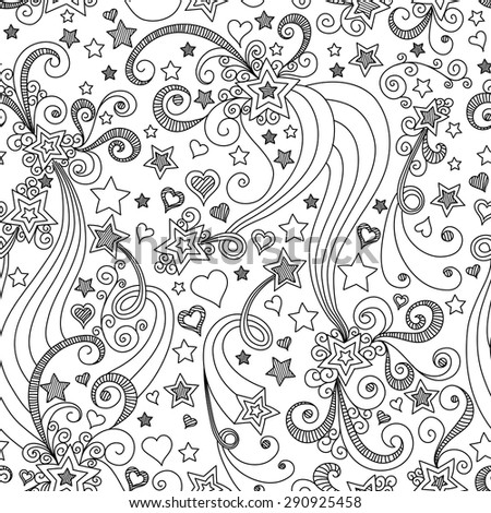 vector seamless black and white star pattern of spirals, swirls, doodles