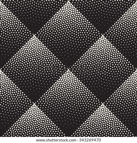 Vector Seamless Black And White Stippling Rhombus Gradient Halftone Dot Work Pattern Abstract Background - stock vector