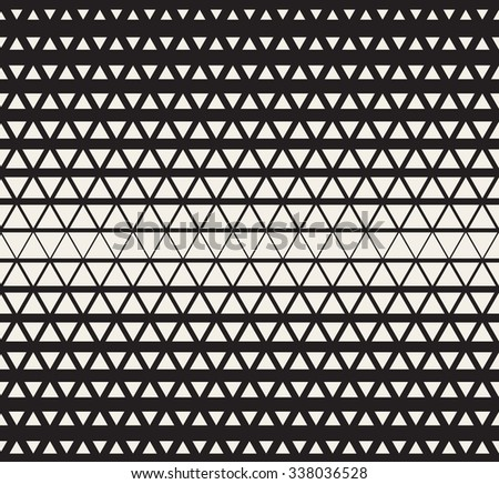 Vector Seamless Black and White  Triangles Halftone Grid Gradient Pattern Geometric Abstract Background - stock vector