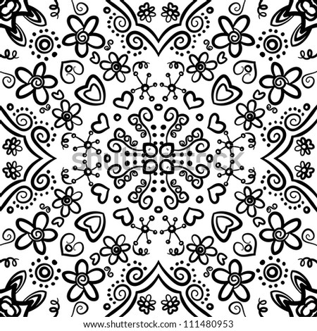 vector seamless black floral pattern background