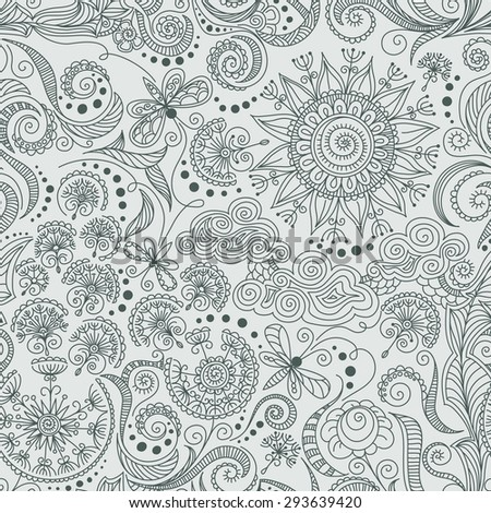vector seamless black, red and white hand-drawn pattern of spirals, swirls, doodles - stock vector