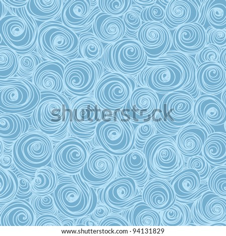 Vector seamless blue abstract pattern with waves and curl - stock vector