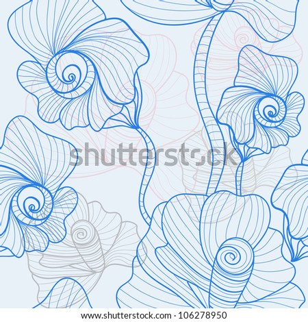 vector seamless blue flower background - stock vector