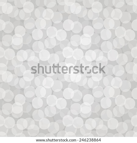 Vector seamless bokeh pattern of white overlapped transparent circles. Design of holiday gift wrapping, greeting card or web page wallpaper. EPS10 repetitive vintage background. - stock vector