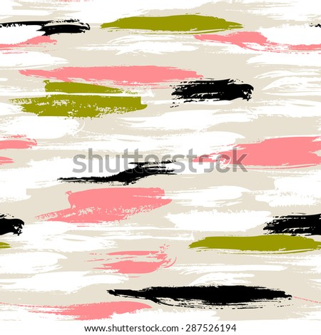Vector seamless bold pattern with thick brushstrokes and thin stripes hand painted in bright coral red and olive green colors. Dynamic striped print texture for spring summer fashion and sportswear - stock vector