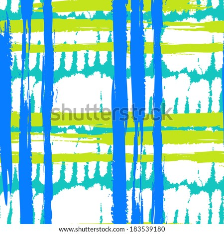 Vector seamless bold pattern with wide brushstrokes and stripes in bright variety of colors: blue, turquoise, lime green and white - stock vector