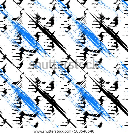 Vector seamless bold pattern with wide brushstrokes and stripes in diagonal direction painted in bright and contrasting colors: black, electric blue and white - stock vector