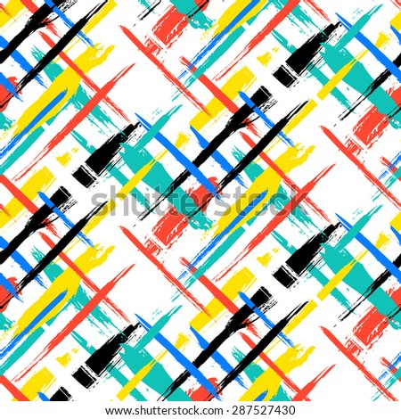 Vector seamless bold plaid pattern with thin brushstrokes and thin stripes hand painted in bright red, green, blue colors. Dynamic striped print texture for fall winter retro fashion and sportswear - stock vector