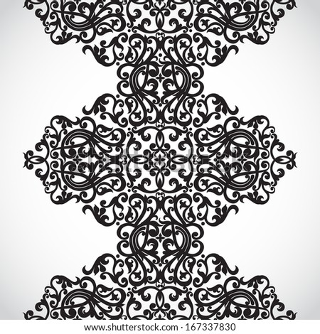 Vector seamless border in Victorian style. Element for design. It can be used for decorating of wedding invitations, greeting cards, decoration for bags and clothes.