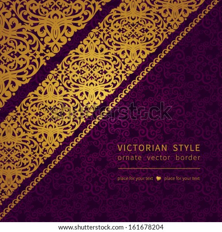 Vector seamless border in Victorian style. Element for design. You can place the text in an empty frame. It can be used for decorating of invitations, greeting cards, decoration for bags and clothes. - stock vector