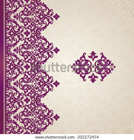 Vector seamless border in Victorian style. Ornate element for design with place for text. Ornamental pattern for wedding invitations, greeting cards. Traditional purple decor. - stock vector
