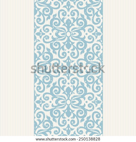 Vector seamless border in Victorian style. Ornate floral element for design. Place for text. Ornamental pattern for wedding invitations, greeting cards. Traditional blue decor. - stock vector